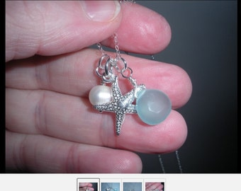 Handcrafted Nantucket Necklace with Sterling silver starfish, Pearl and chalcedoncy