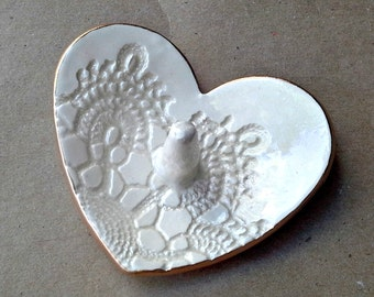 Ceramic Ring Holder Bowl Lace Heart OFF WHITE gold edged