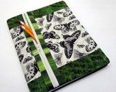 Composition Book Cover, Fabric w/ Zipper Pocket, Refillable - Butterflies