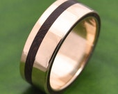 Equinox Nacascolo 14k Yellow Gold Wood Ring - ecofriendly wood wedding band, 14k yellow gold wood wedding ring