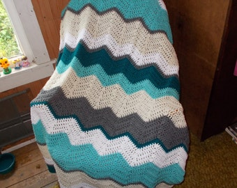 Crochet Ripple Chevron Afghan Blanket/Lap/Throw -Ready to Ship-Large size/ Modern/Retro/ Teal and Mint Delight