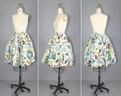 novelty skirt / 1950s / vintage skirt / WILD WEST cotton skirt