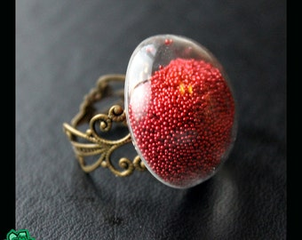 Hollow glass dome ring: red nailpolish beads