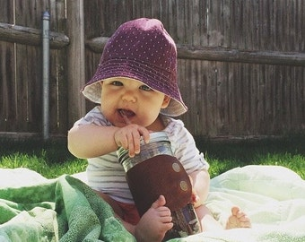 Plum Polka Dot Chambray Baby Bucket Sun Hat