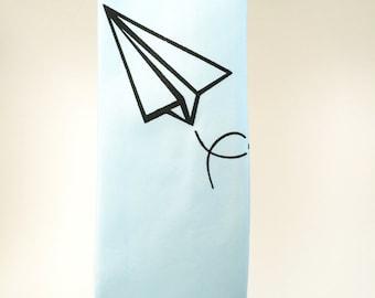 SALE - Mens Necktie. Screen Print Paper Airplane Design in Baby Blue