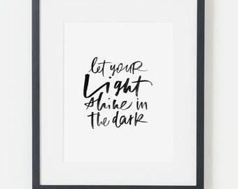 framed 8x10 print / light shine, black on white / choice of black, white, natural or gold frame