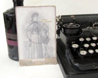 Vintage portrait piechart poem | Original fine art collage on board