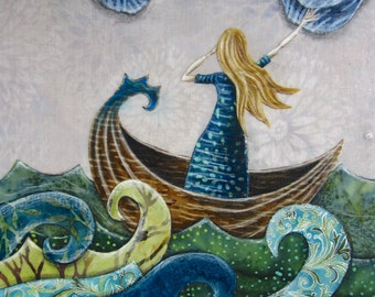 She felt the freedom of the Sea, ocean waves sea, boat adventure, nautical, Original Fabric on Wood art box deep