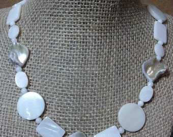 Mother of Pearl mixed shapes shell necklace