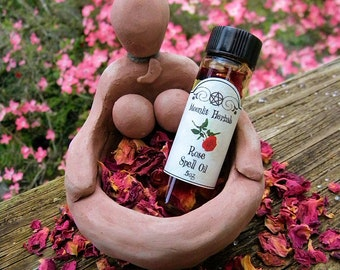 Rose Absolute Spell Oil - Goddess Worship, Rosa Damascena, Red Rose Flower Petals, Venus, Aphrodite, Freya