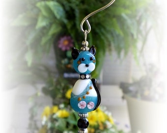 Cute Lampwork Bead Blue Kitty Cat Suncatcher with 20mm Austrian Crystal, Handmade Hanger, Unique Gifts, Cat Lover Gifts