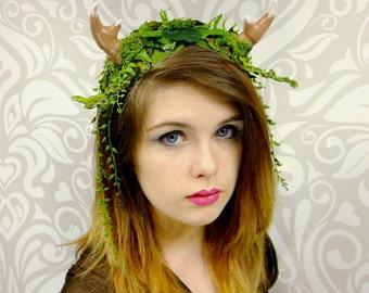 Faun Antler Headdress, Satyr Headpiece, Antler Crown, Moss and Fern Mori-Kei, Kawaii, Cosplay Satyr Faun Maenad Headband, Costume Horns