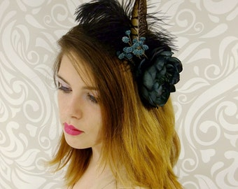 Navy Blue Flower Headband, Boho Headband, Rustic Flower Headband, Dark Blue Boho Headband, Dark Blue Headband, Feather Headband, Bridal Hair