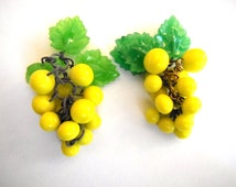 BOGO SALE. vintage grape clusters (1+) dangles earrings bunch yellow cha cha charms drops beads Czech Carmen Miranda almost 2 inches (1+)