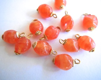 Vintage charms (10) glass charms drops beads peach tangerine orange baroque bead caps findings 15 x 9mm (10)