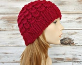 Red Knit Hat Red Womens Hat - Scales Beanie Cranberry Red - Red Hat Red Beanie Red Mens Hat Womens Accessories Winter Hat - READY TO SHIP