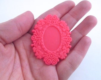 Hot pink resin frame cabochon, kawaii style resin cab settings (holds an 18x25mm cab)