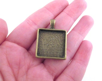 20mm square bezel pendant settings, brass plated, pick your amount, B122