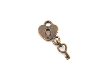 10 brass padlock heart with key charm pendants