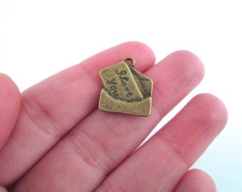 Brass envelope letter charms, pick your amount