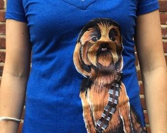 Chewbacca Dog Shirt, Women's Chewbacca Dog V-Neck, Women's Dog Shirt, Star Wars Shirt, Women Star Wars Apparel, Star Wars Apparel, Chewbacca
