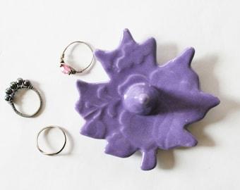 Light Pastel Purple Ring Holder, Ring Dish, Leaf Shape