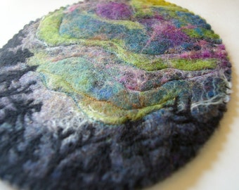 Felted Landscape Wall Hanging: Dancing Lights (Wool Fiber Art to Hang or Frame)