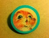 Ginger Kitten Wooden Brooch