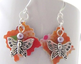 Pewter Butterfly Plastic Gift Card Pearl Earrings Orange Lavender Upcycled