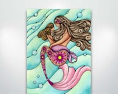 Mermaid Mother and Daughter painting - Fine Art Giclée Print