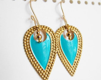 Nouveau Antiquity - Petite Golden Brass Shields in Aqua Blue