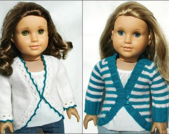 "Clara Cardigan Sweater 2 Variations Included - PDF Knitting Pattern For 18"" American Girl Dolls - Top-Down Seamless Doll Clothes Pattern"