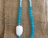 Turquoise Quartz Beaded Necklace, White Marble Quartz, Peruvian Opal Quartz, Layering, BoHo Style, Hippie, Preppy, Statement Necklace, Sea