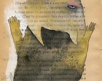 Reaching Monster Monoprint / SALE gold black and grey on book page