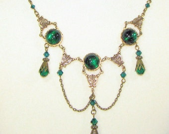 Emerald on Brass Chain Necklace with matching Earrings