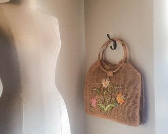 Pretty Vintage 70s Raffia Straw Floral Market Bag