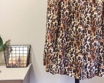 Sweet Vintage 80s Leopard Print Drapey Midi Skirt