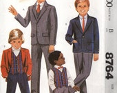 McCall's 8764 BOY'S SUIT Formal Wedding Jacket Pants Vest © 1983 Sewing Pattern CHOICE of Sizes