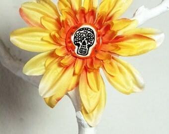 Day of the Dead Sugar Skull Flower Hair Clip in Orange