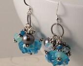 Blue Lampwork Glass Dangle Earrings, Freshwater Pearls, Sterling Silver, Swarovski Crystals, Sea Glass, Ocean Jewelry, Beach Jewelry EWIN