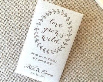 DIY Custom Seed Packet Wedding Favors, Custom Envelope, Kraft, Envelopes, Wedding Favors, Bridal Shower, Seed Packet, Let Love Grow