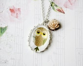 Sleepy Owl Necklace, Romantic, Shabby Chic, Delicate Cute Jewelry