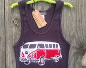 VW camper bus batik clothing ribbed tank top Eco top hand dyed vintage black tops & tees womens clothing, festival top, hand painted tie dye