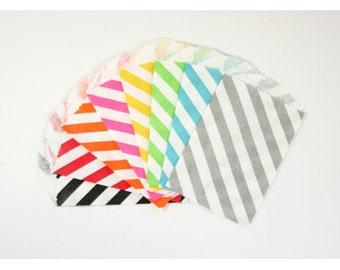 Stripe Favor Bags-2.75 X 4 - You choose color - 12 count-red-purple-aqua-lime green-hot pink-black-grey-orange-yellow
