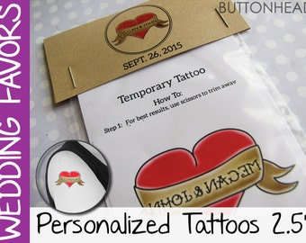 250 Cool Wedding Favors - Temporary Tattoos Parlor - Customized Personalized Packaging