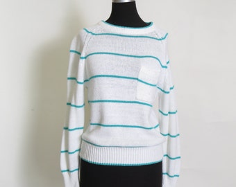 Vintage Striped Teal and White Knit Pocketed Sweatshirt size s/m
