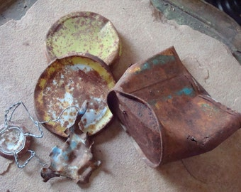 Rusty Twisted Metal Can & Lid Pieces with Yellow Blue Color