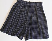 Vintage 80s High Waisted Navy Polka Dot Shorts / Pleated Front / Size Small