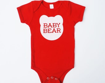 Baby Bear Cotton One Piece Bodysuit in Red with White print - Baby Shower Gift