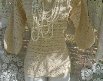Cream crochet top  ivory vintage lacey boho festival   romantic small from vintage opulence on Etsy